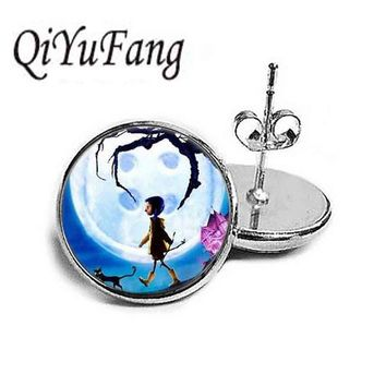 Anime Movie Coraline Coraline stud earrings Jewelry for womens mens vintage antique charms steampunk best friends gift 1pair/lot