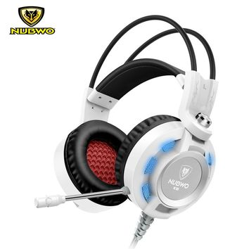 Original NUBWO K6 USB Gaming Headphones 3.5mm+USB With Microphone LED Light Bass Stereo Sound Over Ear Headsets For PC Gamer