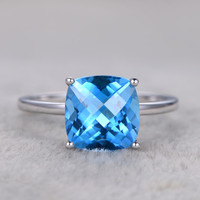 9mm Cushion Cut Topaz Engagement Ring Blue Gemstone Wedding Ring 14K White Gold Ball Prongs