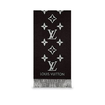 New authentic Louis VUITTON Reykjavik cashmere stole scarf Black w/ grey LV