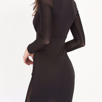Focus of Attention Black Plunging Dress