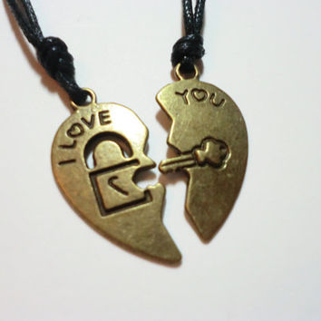 Antique Brass Couples Key and Lock Necklace