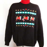 Ugly Christmas Sweater Vintage Sweatshirt Pastel Angels Turtleneck