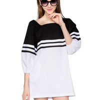 Black And White Block Striped Mini Dress