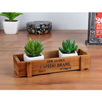 Antique Wooden Table Sundries Container Cosmetics Storage Box Multifunctional Flowerpot Office House