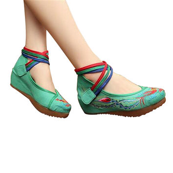 Chinese Embroidered Green Cotton Cheap Elevator shoes for women in Colorful Ankle Straps & Bird Design