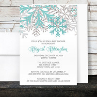 Winter Baby Shower Invitations Girl - Teal Silver Snowflakes design on White - Printed Invitations