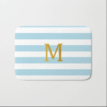 Personalized Bath Mat Gold Initial Monogram Bath Rug Home Decor Customized Light Blue White Stripes Boy Girl Kid Adult For Him Her Name