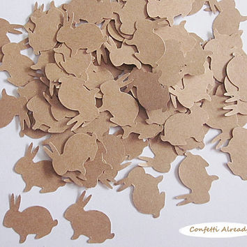Easter Bunny Confetti  - Scrapbook Embellishment, Table Decoration, Card Making, Tag Making, Brown Craft Cardstock