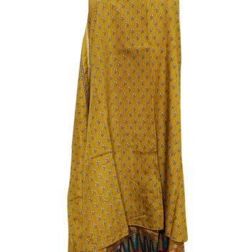 Women's Boho Beach Wrap yellow Two Layer Reversible Silk Sari Long Skirt