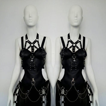 Faux leather gothic style harness top