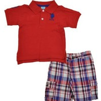 U.S. POLO ASSN. Baby Boys' 2 Piece Set With Polo And Short, Engine Red, 24 Months Months