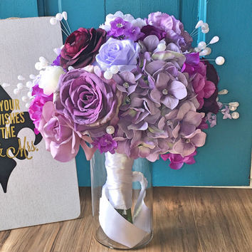 Plum Purple 17 Inch Hydrangea and Rose Blinged Out With Rhinestones and Pearls Bridal Bouquet