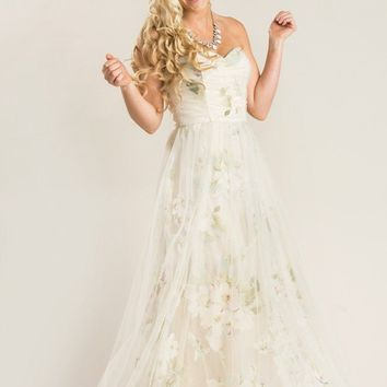 Ellen Beige Floral Tulle Maxi Dress
