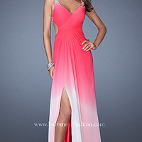 Long Ombre Open Back Formal Gown