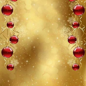 Red Ornaments Gold Christmas Titanium Cloth Backdrop 8x8 - LCTC3129 - LAST CALL