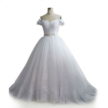 Luxury ballgown White Bridal Gown Off Shoulder sweetheart lace Wedding Gowns