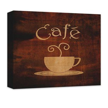 Cafe with Cup Word Art Canvas Wall Art