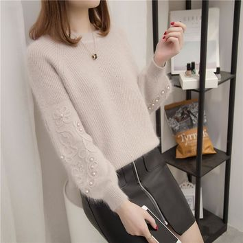 Rhinestone Ans Faux Fur Embellished Cuff Jumper Grey Crew Neck Casual Pullovers Elegant Long Sleeve Sweater
