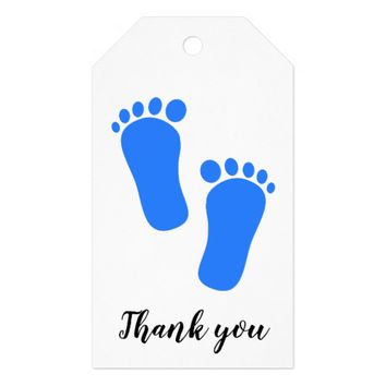 Blue Baby Feet Thank You Gift Tags