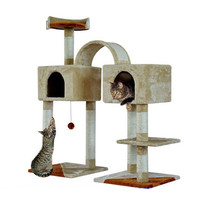 "PawHut 46"" Cat Tree Pet Furniture Kitty Cat Scratcher Two Condo Post Tower Toy"