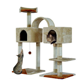 """PawHut 46"""" Cat Tree Pet Furniture Kitty Cat Scratcher Two Condo Post Tower Toy"""