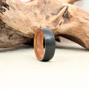 Black Zirconium Wood Ring Lined with Jack Daniels Whiskey White Oak Barrel