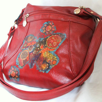 Upcycled handbag - red faux leather embellished bag with decoupage butterfly design