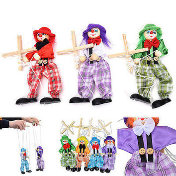 1 Pc Pull String Puppet Wooden Marionette Joint Activity Dolls Clown Kids ToysHU