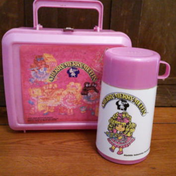 Vintage Plastic Pink Cherry Merry Muffin Aladdin Lunch Box and Thermos
