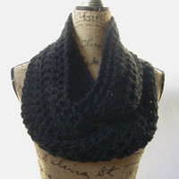 Ready To Ship New Black Chunky Scarf Fall Winter Women's Accessory Infinity