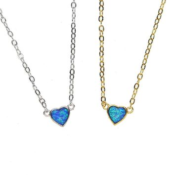 2018 christmas gift silver gold delicat Dainty opal fire blue necklace heart love charm pendant 41+5cm Extend for women lover