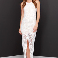 No Lace I'd Rather Be Ivory Lace Maxi Dress