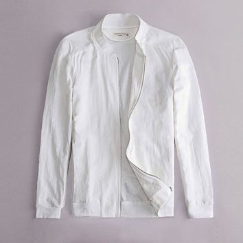 Spring Autumn Italy slim fit jacket men Linen white clothes thin Cotton coat men brand clothing stand collar outerwear Jaqueta