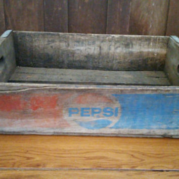 Vintage Pepsi Crate With Metal Strapping Great Advertising Graphics Storage Organization Decor Shelf