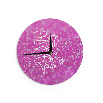 "Beth Engel ""Born with Glitter"" Pink Sparkle Wall Clock"