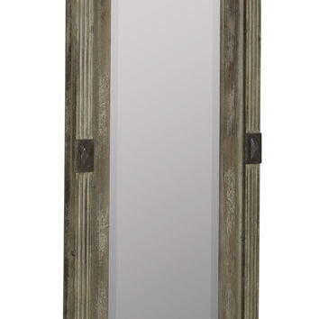 Lordes Mirror Antiqued Wood with Aged Cream Highlights and Rusted Metal Accents; Beveled Mirror; Small Shelf and Drawer