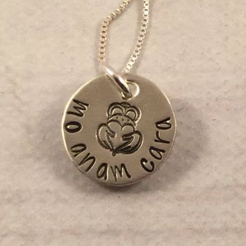 """Mo Anam Cara"" - Irish / Gaelic Hand stamped Sterling Silver charm - ready to ship"