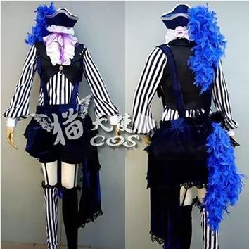 Cool Anime Black Butler Kuroshitsuji Cosplay Ciel Phantomhive Circus Costume Whole SetAT_93_12