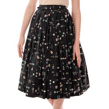 "Vintage Pleated Cotton "" Lucky"" Skirt 1950s Black w/Print Small"