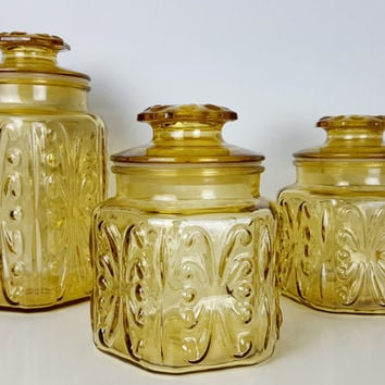 Set of 3 Vintage Amber Glass Jars, Imperial Glass Atterbury Scroll Kitchen Canister, Yellow Flour Sugar Kitchen Containers, Farmhouse French