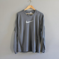 US Free Shipping Nike T-shirt Nike Big Logo Sweatshirt Grey Oversize Pullover Long Sleeves Activewear Vintage Nike 90s Size L #T158A