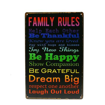 English Aphorism Iron Metal Poster Tin Sign Plate Wall Dec Vintage Art Painting Family Rule Plaque