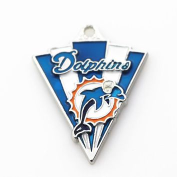 20pcs/lot Miami Dolphins Football Hanging Dangle Charms Sports Charms Floating Charms For DIY Bracele&bangles Jewelry Accessory