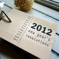 2012 New Years Resolutions notepad wood mini by quotesandnotes
