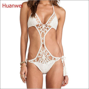 White swimsuit women underwear teddy One piece swimwear handmade crochet Beach wear sexy girls swimwear 2017
