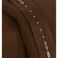 HiEnd Accents Navajo Embroidered Chocolate Sheet Set - Queen - Sheplers
