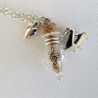 Tiny Grand Piano charm necklace with  Aged Musical Scroll and Heart charm, silver wire wrapped to a twist