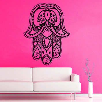 Fatima Hand Wall Decals Indian Hamsa Hand Lotus Stickers Mandala Om Oum Sign Design Home Vinyl Decal Sticker Art Mural Bedroom Decor KG714