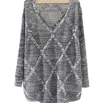 Grey V Neck Knit Sweater